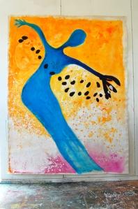 """""""Kolibri"""" Akryl på kanvas 2x1,5 meter. Egenmalt :-)"""