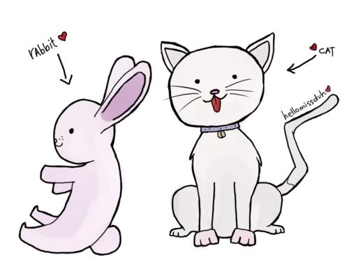 Tegning av katt og kanin fra http://hellomissduh.tumblr.com/page/5