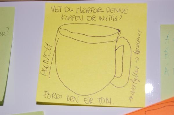 Tegning av tom kopp: Vet du hva som er bra med denne koppen? At den er tom!